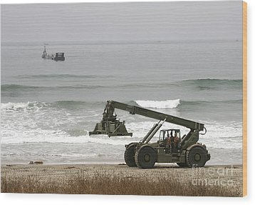Seabee Loader And Powered Causeway Wood Print by Michael Wood