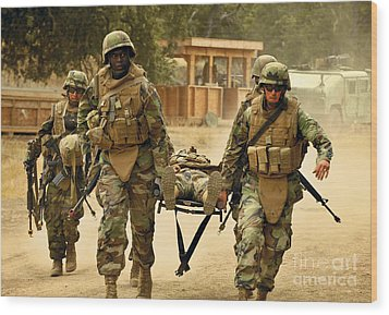 Seabees Conduct A Mass Casualty Drill Wood Print by Stocktrek Images