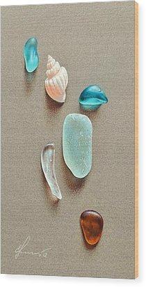 Seaglass Pieces Wood Print by Elena Kolotusha