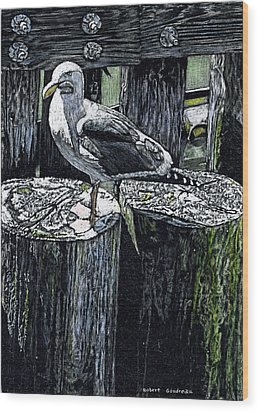 Seagull At Pier Wood Print by Robert Goudreau