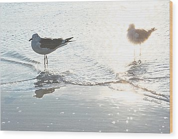 Seagulls In A Shimmer Wood Print by Olivia Novak