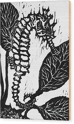 Seahorse Block Print Wood Print by Ellen Miffitt
