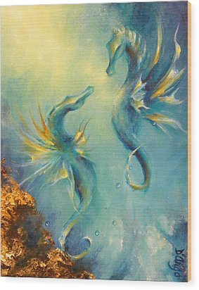 Seahorses In Love 4 Wood Print by Dina Dargo