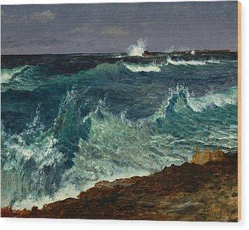 Seascape Wood Print by Albert Bierstadt