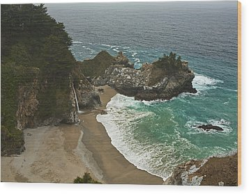 Seascape And Waterfall At Julia Pfeiffer Burns State Park Wood Print by Gregory Scott