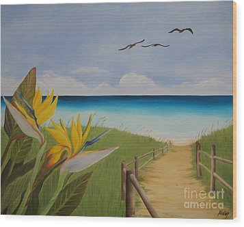 Wood Print featuring the painting Seascape by Jindra Noewi