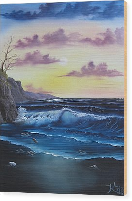 Seascape Sunset Wood Print by Kevin Hill