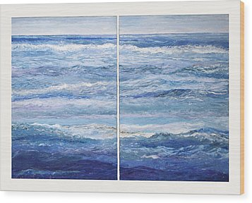 Seashore Diptych Wood Print by Meg Black