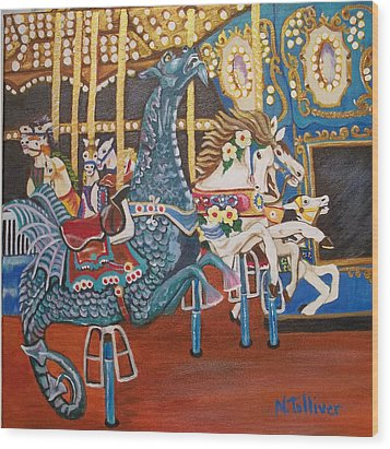 Seaside Heights Carousel Wood Print by Norma Tolliver