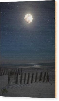 Seaside Moonset Wood Print