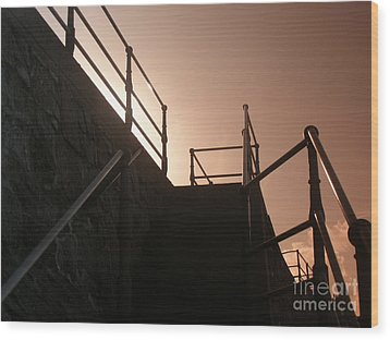 Wood Print featuring the photograph Seaside Railings by Terri Waters