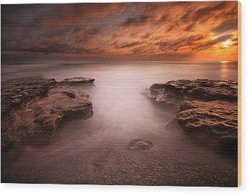 Seaside Reef Sunset 3 Wood Print by Larry Marshall