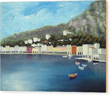 Wood Print featuring the painting Seaside Town by Larry Cirigliano