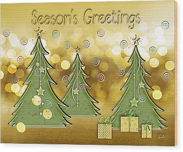 Season's Greetings Wood Print by Arline Wagner