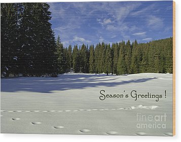 Season's Greetings Austria Europe Wood Print by Sabine Jacobs