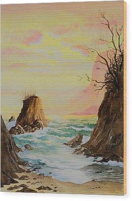 Seastack Sunset Wood Print