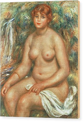 Seated Bather Wood Print by Pierre Auguste Renoir