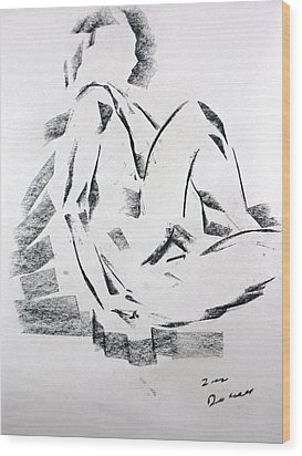 Wood Print featuring the drawing Seated Male by Brian Sereda