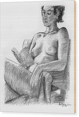 Seated Nude Reading Figure Drawing Wood Print by Adam Long