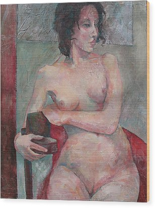 Seated Nude Wood Print by Susanne Clark