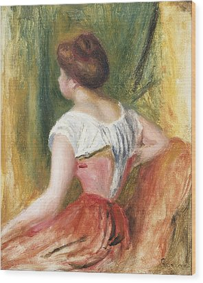 Seated Young Woman Wood Print by Pierre Auguste Renoir