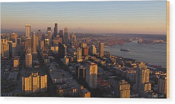 Seattle Blue Hour Wood Print by Heidi Smith