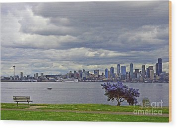 Seattle From Alki Beach Wood Print