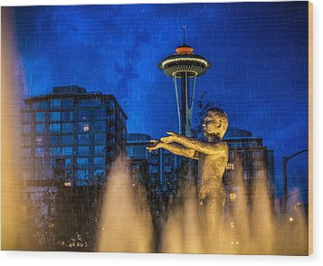 Seattle Rain Boy Wood Print