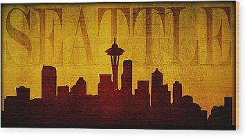 Seattle Wood Print by Ricky Barnard