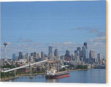 Seattle Skyline 1 Wood Print