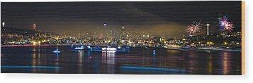 Seattle Skyline Firework Panorama Wood Print by Dmitry Grekov