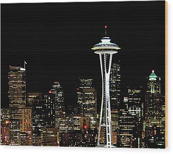 Seattle Skyline With Space Needle Wood Print by Tim Ford