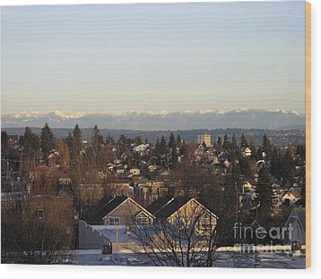 Seattle Suburb In Winter Wood Print by Silvie Kendall