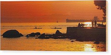Seawall Silhouette Wood Print by Matt  Trimble