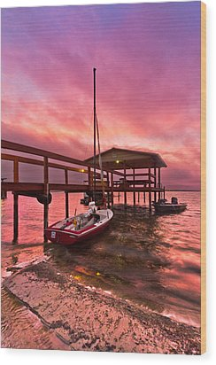 Sebring Sailing Wood Print by Debra and Dave Vanderlaan