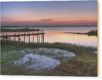 Sebring Sunrise Wood Print by Debra and Dave Vanderlaan