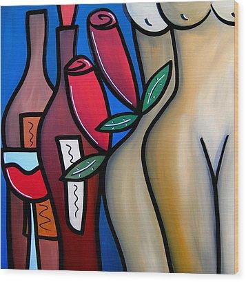 Secret - Nude Wine Art By Fidostudio Wood Print by Tom Fedro - Fidostudio