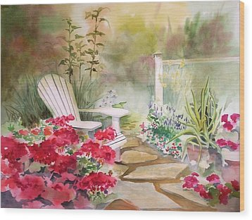 Wood Print featuring the painting Secret Garden by Richard Willows