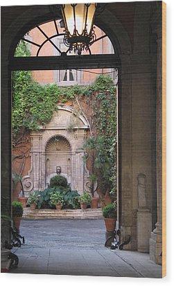 Secret View In Rome Wood Print by Vikki Bouffard