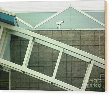 Wood Print featuring the photograph Security Camera On Government Building by Renee Trenholm