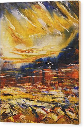 Wood Print featuring the painting Sedona Sky by Karen  Ferrand Carroll