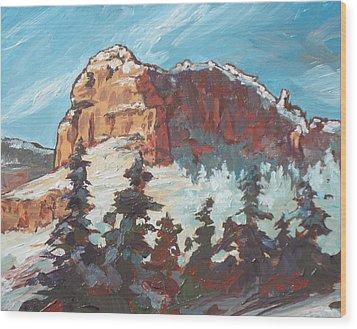 Sedona Snow Wood Print by Sandy Tracey