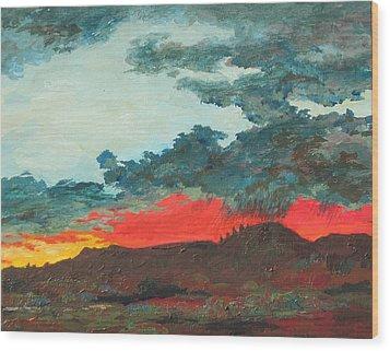 Sedona Sunset Wood Print by Sandy Tracey