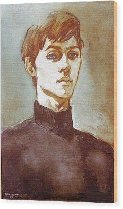 Self Portrait Blue Wood Print