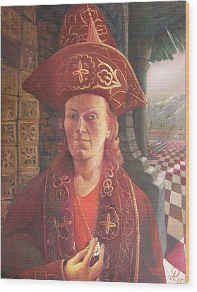 Self-portrait In A Kazakh Costume Wood Print