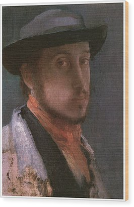 Self-portrait In A Soft Hat Wood Print by Edgar Degas