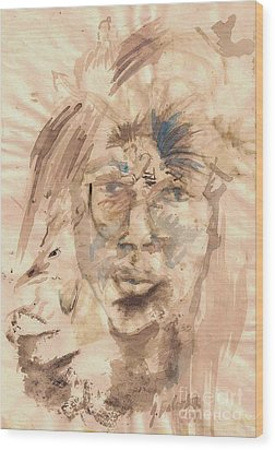 Self Portrait Ink And Beet Wood Print by Jamey Balester