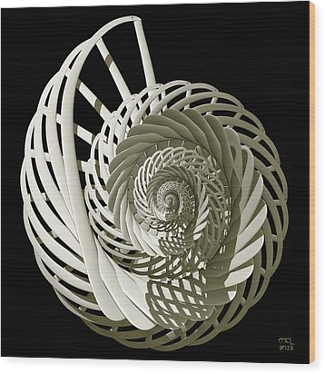 Self-referentially Braided Shell Wood Print by Manny Lorenzo
