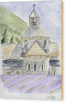 Senanque Abbey Provence Wood Print by Eva Ason