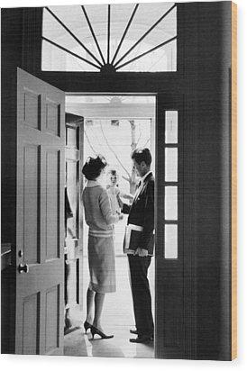 Senator John F. Kennedy Right, Jackie Wood Print by Everett